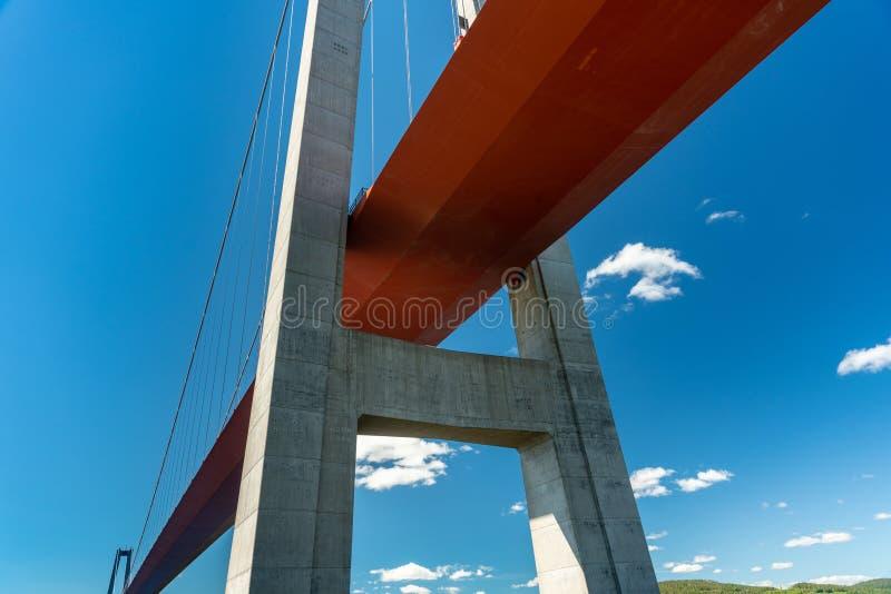 Baixa opinião de perspectiva da ponte alta da costa na Suécia imagem de stock