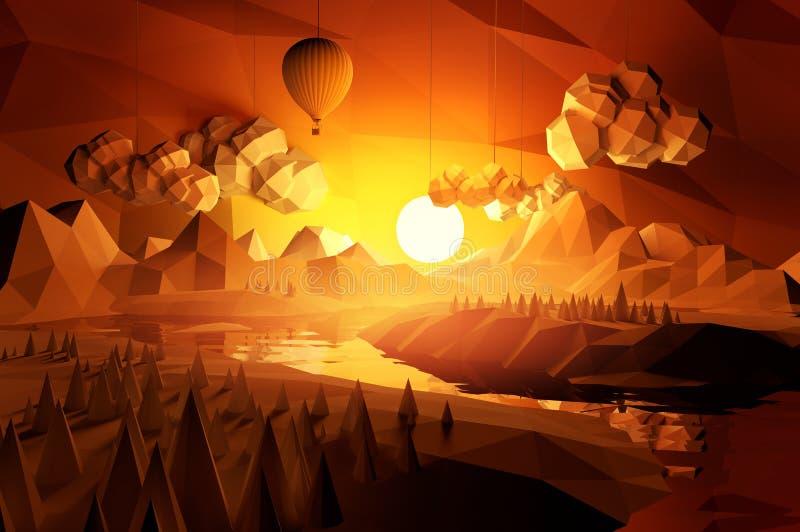 Baixa paisagem cênico poli ilustração stock