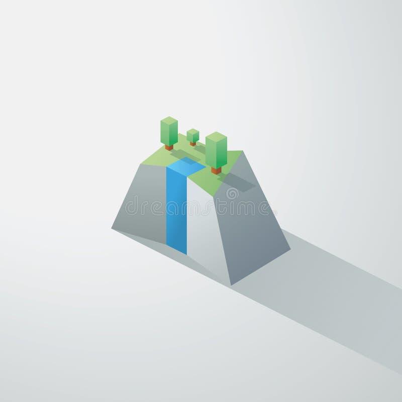 Baixa paisagem minimalistic poli com isométrico ilustração do vetor