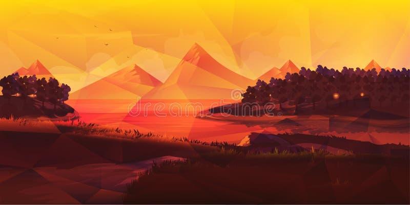 Baixa paisagem poli da natureza ilustração royalty free