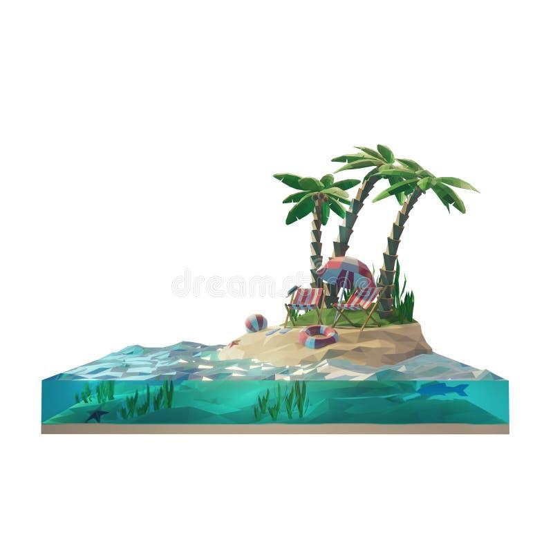 baixa parte 3d poli de uma ilha tropical com mar, cadeiras de plataforma sob o guarda-chuva em uma praia Ilustração do conceito 3 ilustração royalty free