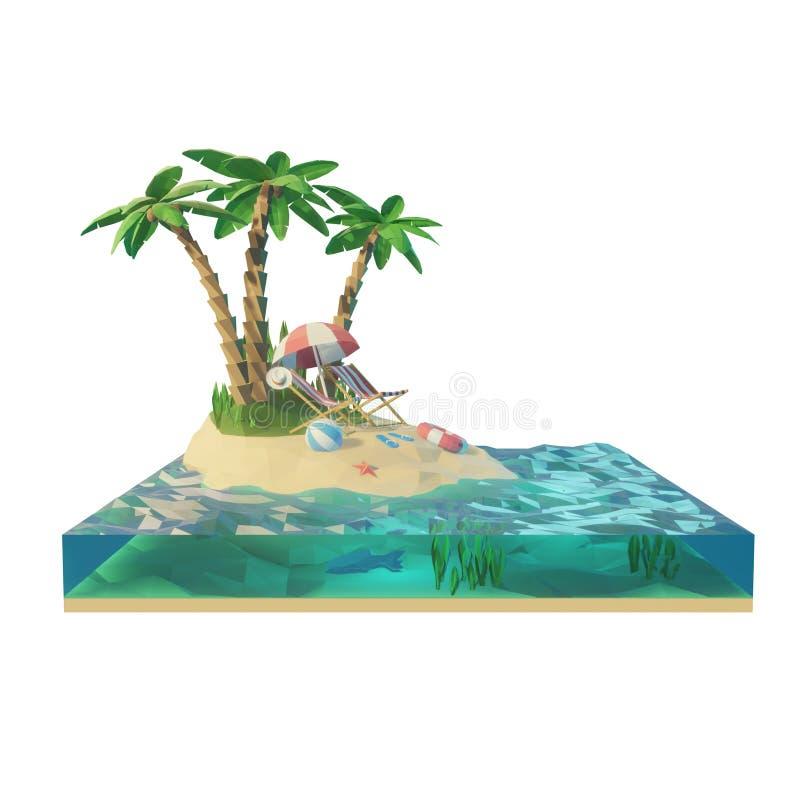 Baixa parte poli de uma ilha tropical com mar, cadeiras de plataforma sob o guarda-chuva em uma praia Ilustração do conceito 3d d ilustração do vetor