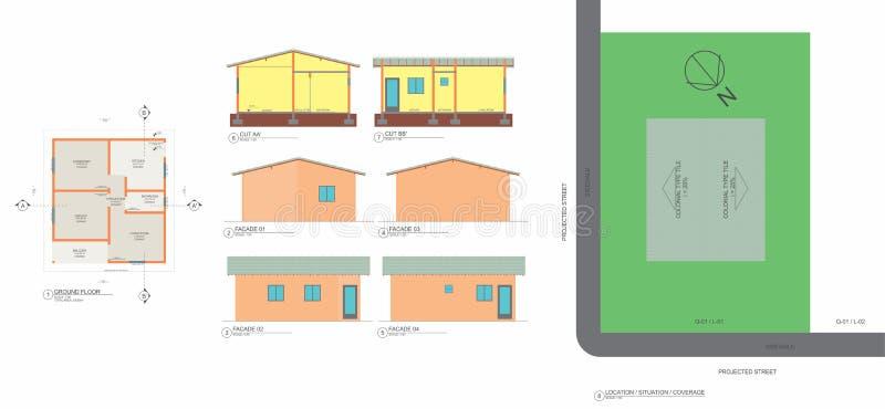 Baixa planta, cortes, fachadas e dimensões populares do implantationwith da casa ilustração royalty free