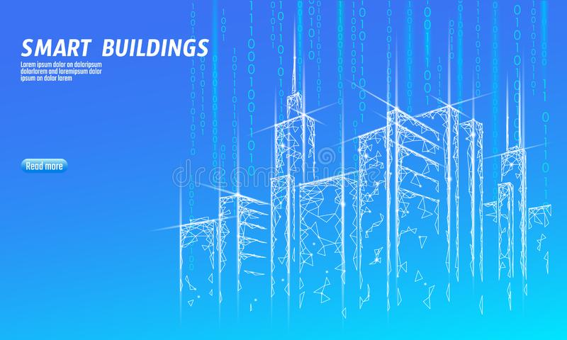 Baixa rede de arame esperta poli da cidade 3D Conceito inteligente do negócio do sistema de automatização de construção Computado ilustração do vetor