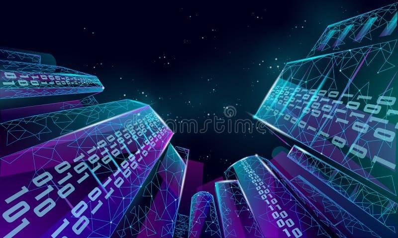 Baixa rede de arame esperta poli da cidade 3D Conceito inteligente do negócio do sistema de automatização de construção Fluxo de  ilustração stock