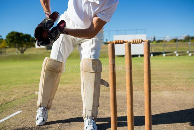 Baixa seção do depositário do wicket que está por cotoes durante o fósforo fotos de stock