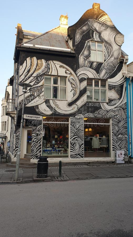 Baixa urbana Islândia da arte fotografia de stock