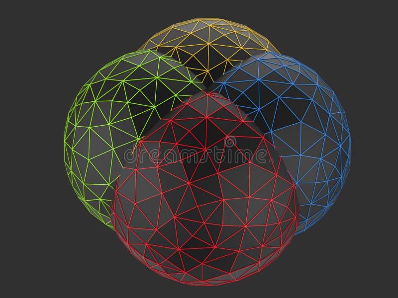 Baixas esferas polis pretas - vermelho, amarelo e azul verdes ilustração stock