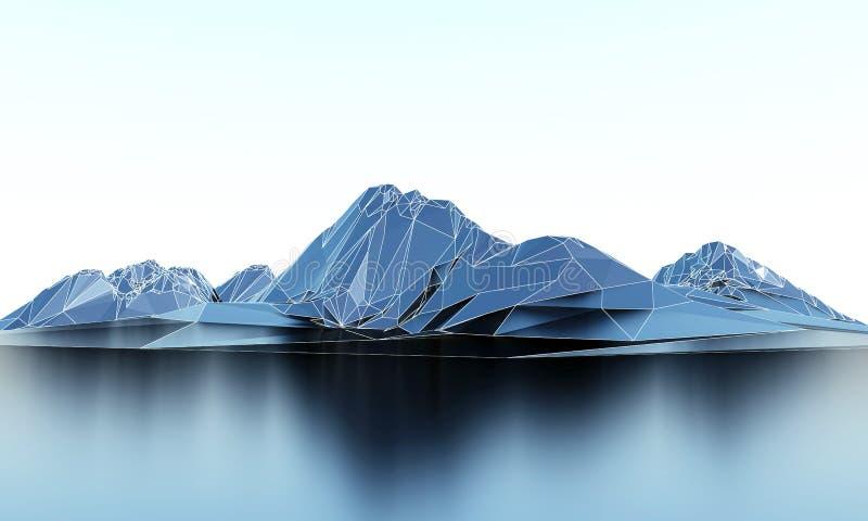 Baixas montanhas polis de Wireframe ilustração stock