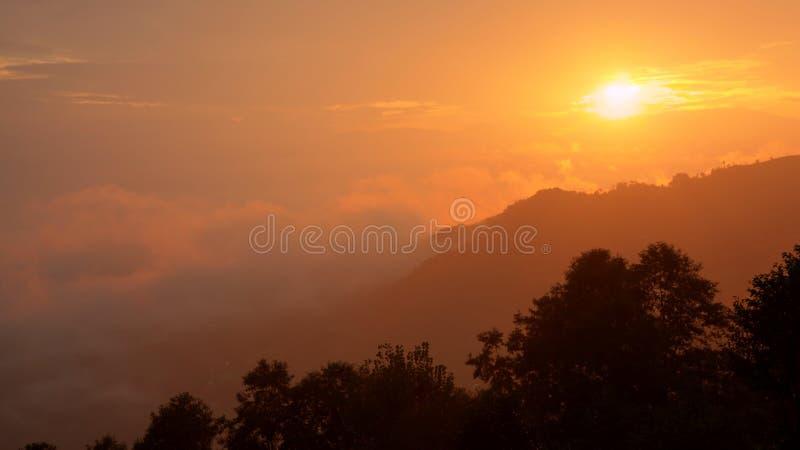 Baixas nuvens do por do sol alaranjado brilhante e uma silhueta das árvores no direito mais baixo fotografia de stock