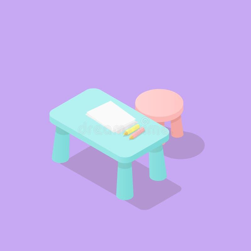 Baixas tabela e cadeira isométricas polis das crianças ilustração do vetor
