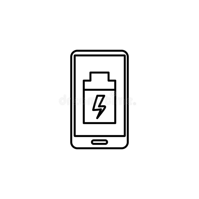 baixo ícone do smartphone da bateria Elemento do ícone da inteligência artificial para apps móveis do conceito e da Web Linha fin ilustração royalty free