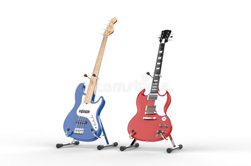 Baixo bonde azul e guitarra vermelha em suportes fotografia de stock royalty free
