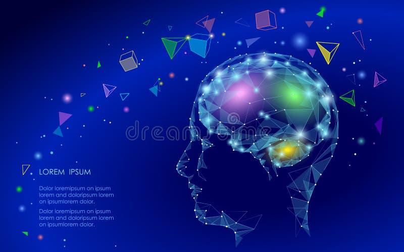 Baixo conceito abstrato poli da realidade virtual do cérebro Sonho linear da imaginação da mente do triângulo geométrico das form ilustração stock