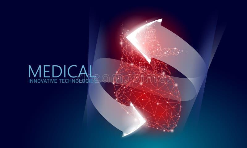 Baixo conceito poli da medicina saudável total dos batimentos cardíacos 3d Fundo vermelho da drograria da farmácia do triângulo S ilustração do vetor