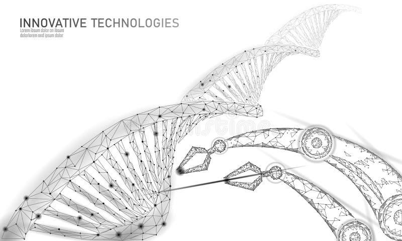 Baixo conceito químico poli da ciência da terapia genética do ADN Triângulos 3d do laboratório do polígono que rendem a genética  ilustração stock
