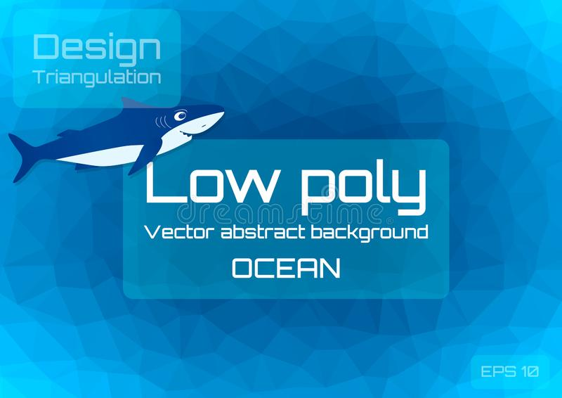 Baixo escuro poli - fundo abstrato azul Triangulação geométrico de profundidades do oceano Molde Textured ilustração royalty free