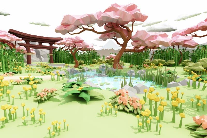 Baixo estilo dos desenhos animados da ilustração do polígono de um jardim japonês asiático ilustração do vetor