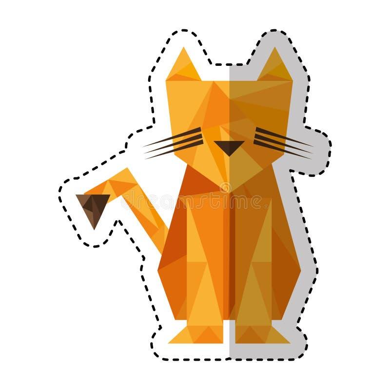 Baixo estilo poli do tigre ilustração stock