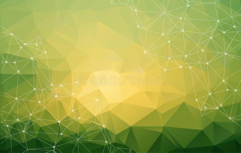 Baixo fundo brilhante verde poli abstrato do vetor da tecnologia con ilustração stock