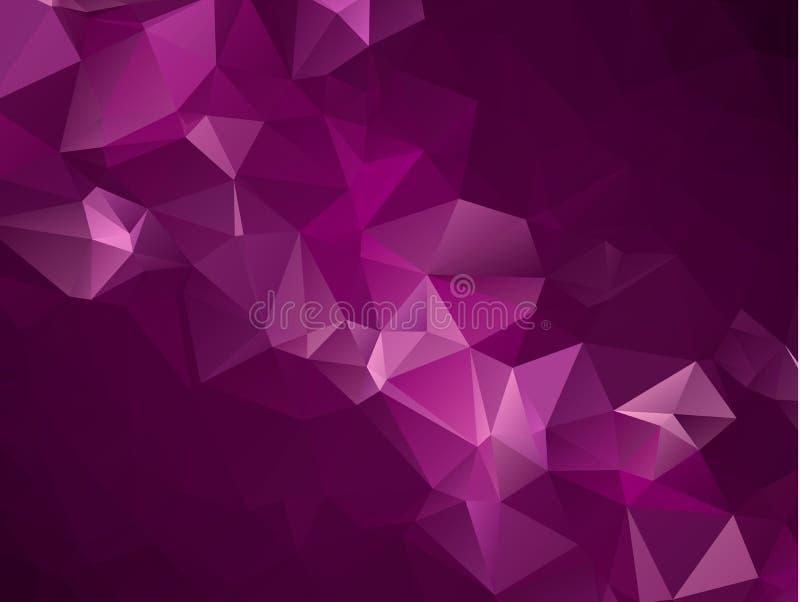 Baixo fundo de cristal poli escuro abstrato do vetor roxo, cor-de-rosa Teste padrão do projeto do polígono Baixa ilustração poli, ilustração royalty free