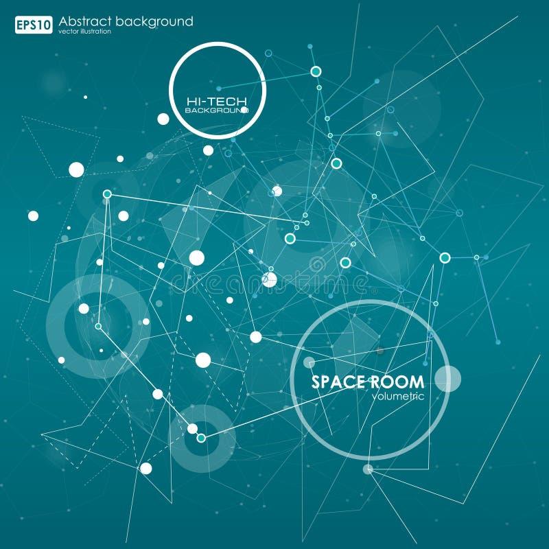 Baixo fundo poli do espaço poligonal abstrato com pontos e linhas de conexão ilustração royalty free