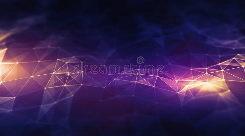 Baixo fundo poli do relevo poligonal roxo escuro do terreno no ster ilustração stock