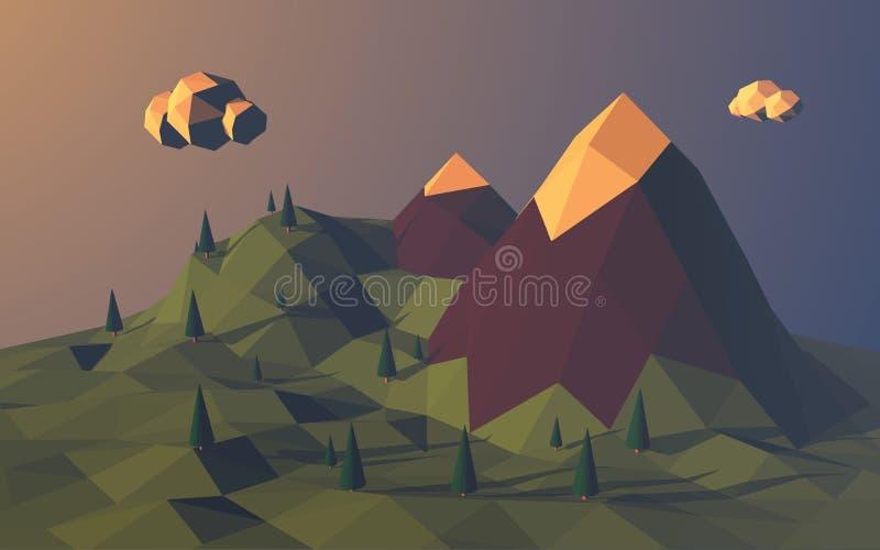 Baixo fundo poli do vetor da paisagem das montanhas ilustração do vetor