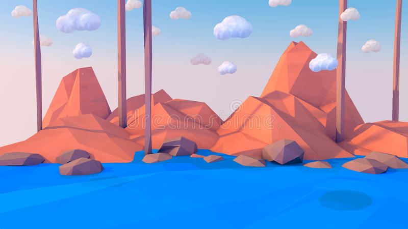 Baixo fundo poli do vetor da paisagem das montanhas As formas poligonais repicam com neve na parte superior e nas árvores ao redo ilustração royalty free