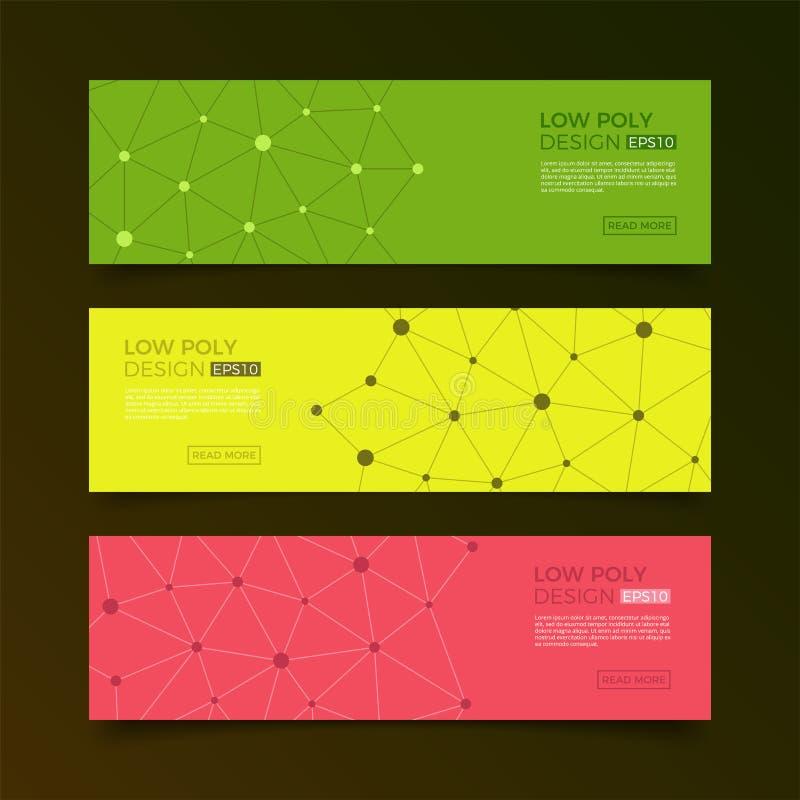 Baixo fundo poli futurista abstrato com pontos e linhas de conexão Estrutura da conexão Projeto poligonal da ciência do vetor ilustração royalty free