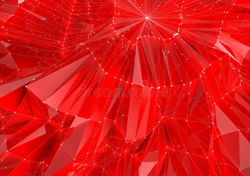Baixo fundo reflexivo vermelho poli ilustração stock