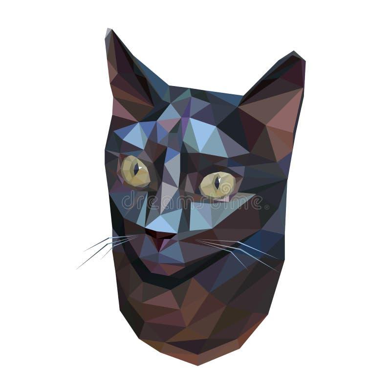 Baixo gato poli geométrico abstrato ilustração royalty free