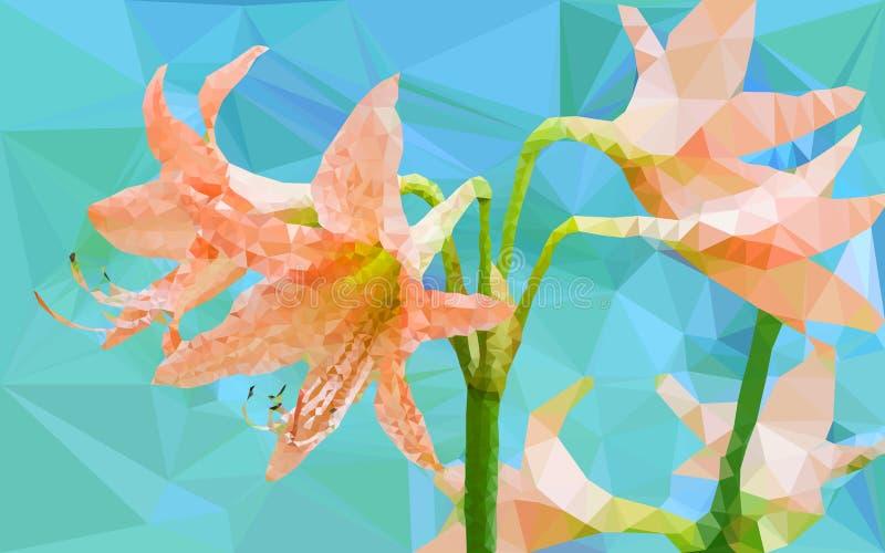 Baixo geométrico poli da flor de Amaryllis ilustração stock