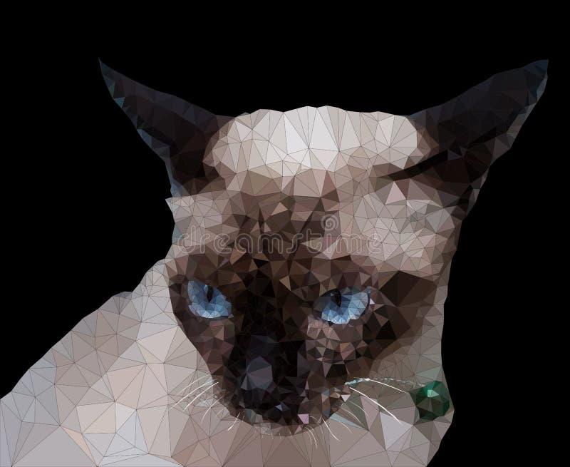 Baixo geométrico poli do gato Siamese ilustração stock