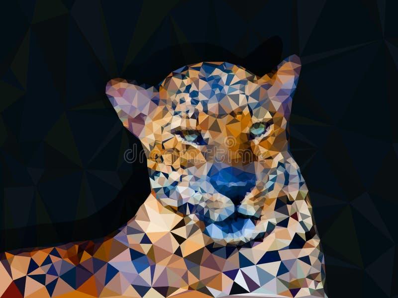 Baixo geométrico poli do leopardo ilustração royalty free