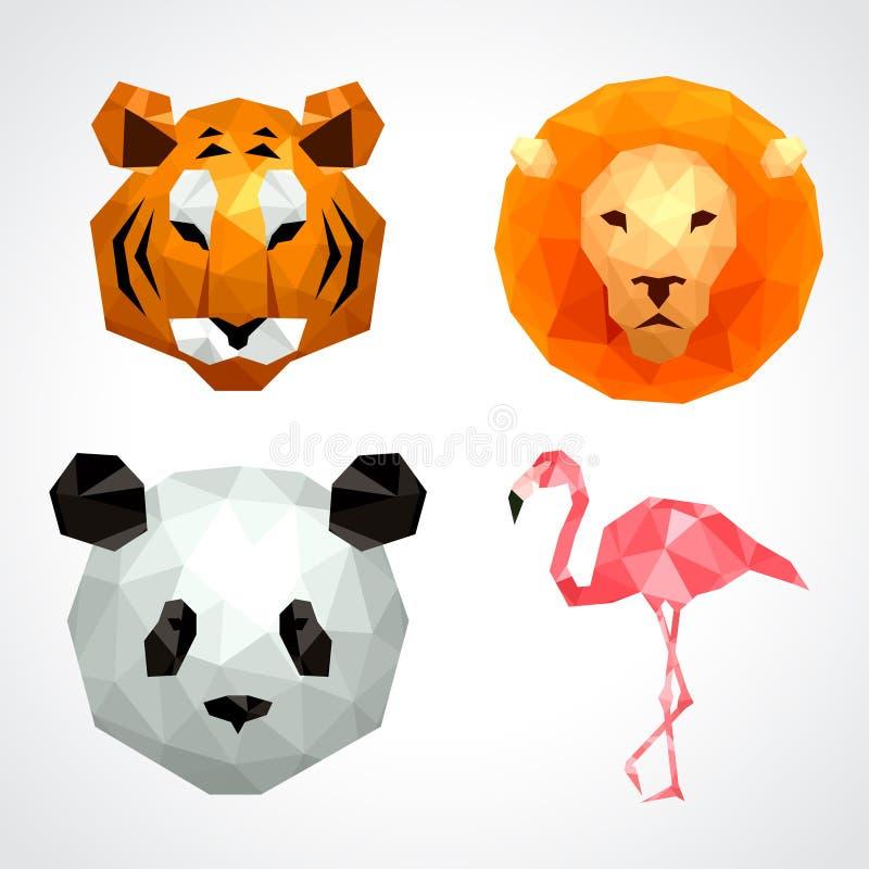 Baixo grupo poli do vetor do flamingo da panda do leão do tigre dos animais ilustração do vetor