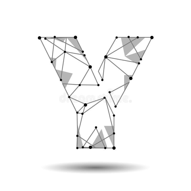 Baixo latim poli do inglês da letra Y O triângulo poligonal conecta a linha do ponto do ponto Tipo preto da fonte do modelo de es ilustração do vetor