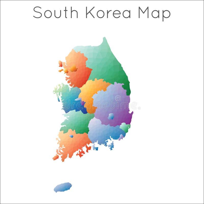 Baixo mapa poli de Coreia do Sul ilustração royalty free