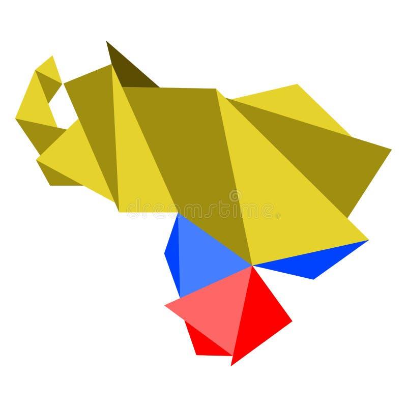Baixo mapa poli do estilo da Venezuela ilustração do vetor