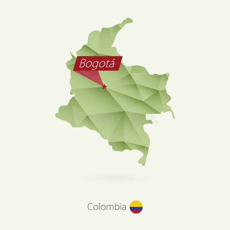 Baixo mapa poli do inclinação verde de Colômbia com capital Bogotá ilustração do vetor