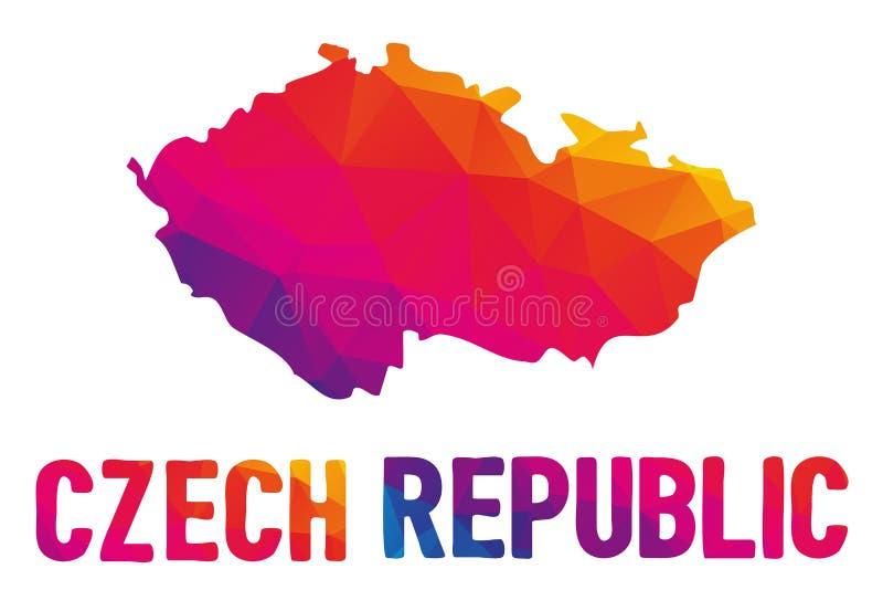 Baixo mapa poligonal do republika de República Checa Ceska, também ilustração royalty free