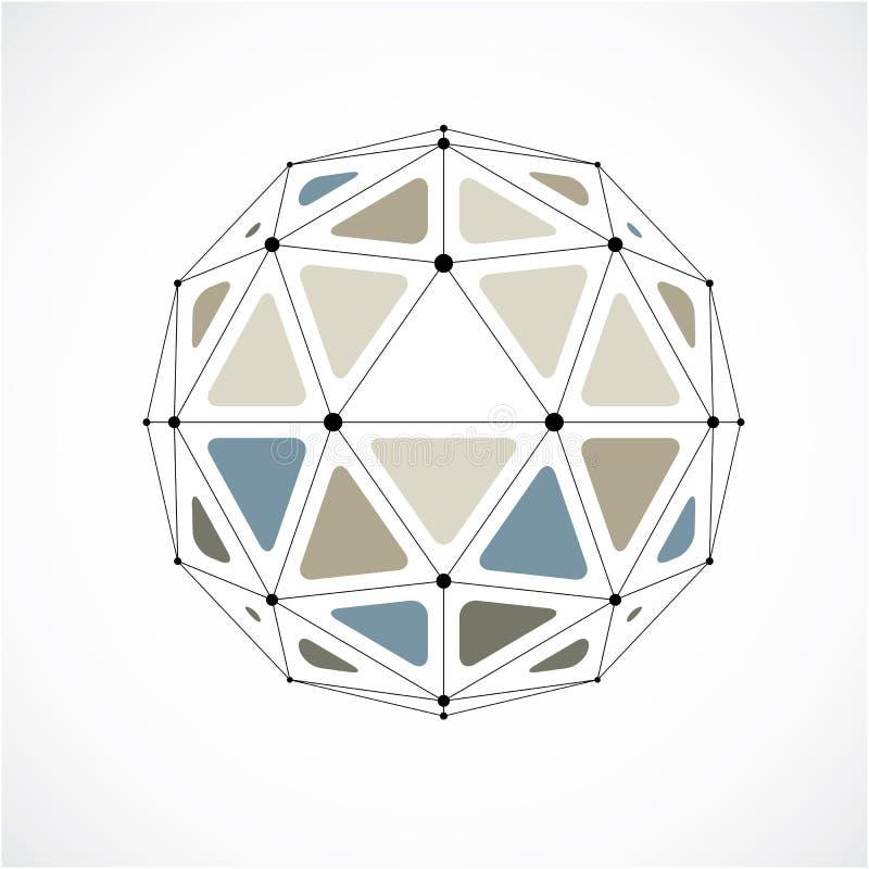 Baixo objeto poli do vetor abstrato com linhas e connec pretos dos pontos ilustração stock