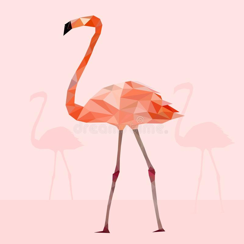 Baixo pássaro colorido poli do flamingo na terra traseira cor-de-rosa, conceito geométrico animal, vetor ilustração royalty free