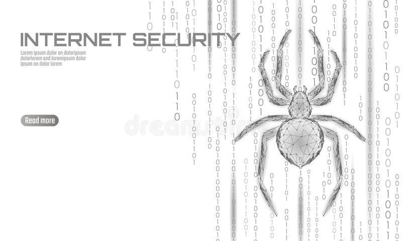 Baixo perigo poli do ataque do hacker da aranha Conceito do antivirus da segurança dos dados do vírus da segurança da Web Negócio ilustração stock