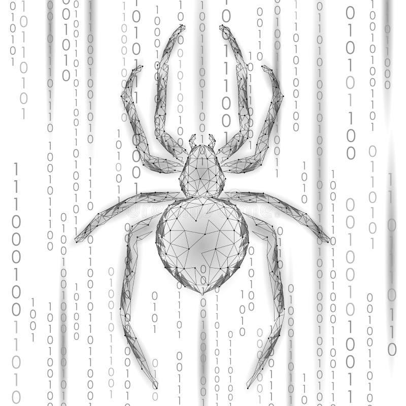 Baixo perigo poli do ataque do hacker da aranha Conceito do antivirus da segurança dos dados do vírus da segurança da Web Negócio ilustração do vetor