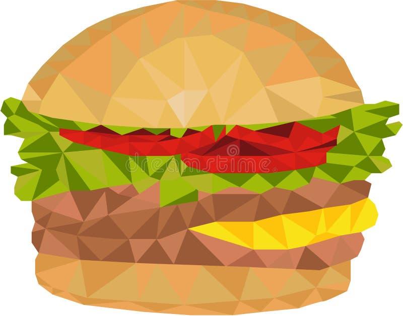 Baixo polígono do Hamburger ilustração royalty free
