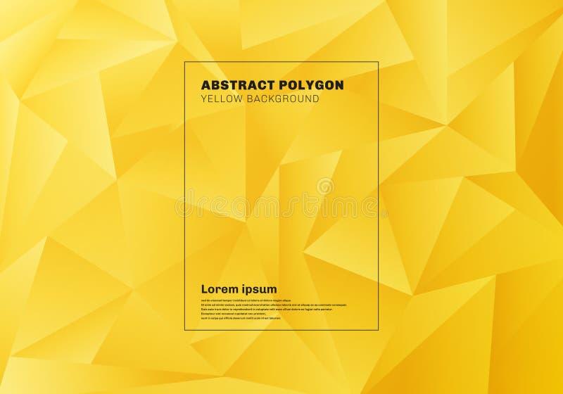 Baixo polígono ou teste padrão abstrato dos triângulos no fundo e na textura amarelos da mostarda ilustração do vetor