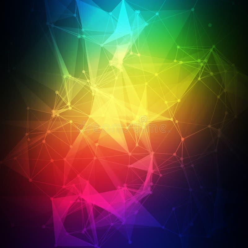 Baixo poli abstrato, molécula e comunicação ilustração stock