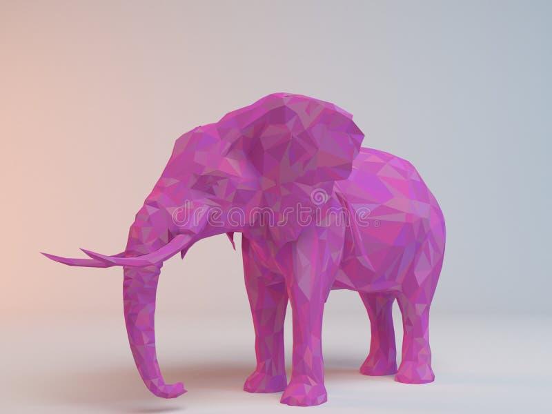 baixo poli 3D cor-de-rosa (elefante) ilustração do vetor