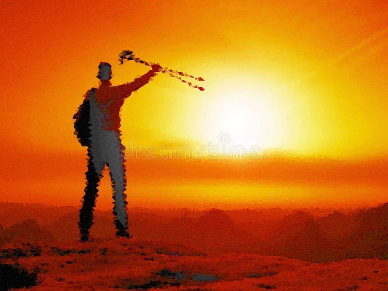 baixo poli Vista ao horizonte Homem em uma rocha que olha ao horizonte imagem de stock royalty free